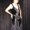 1920s Flapper Dress, made using authentic 1920s pattern.  Crushed velvet and nylon net flounces.